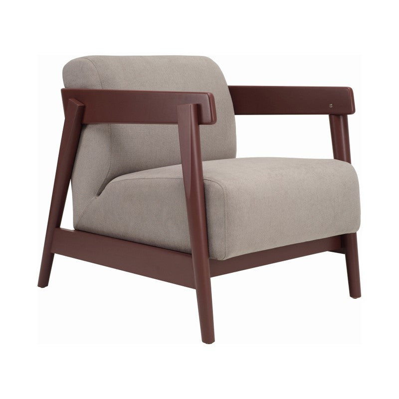 Daewood Lounge Chair In Penny Brown & Light Grey