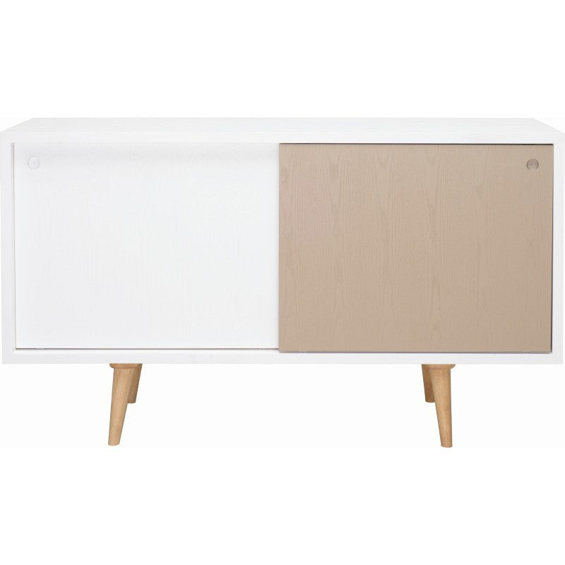 Locke Sideboard In White And Taupe Grey