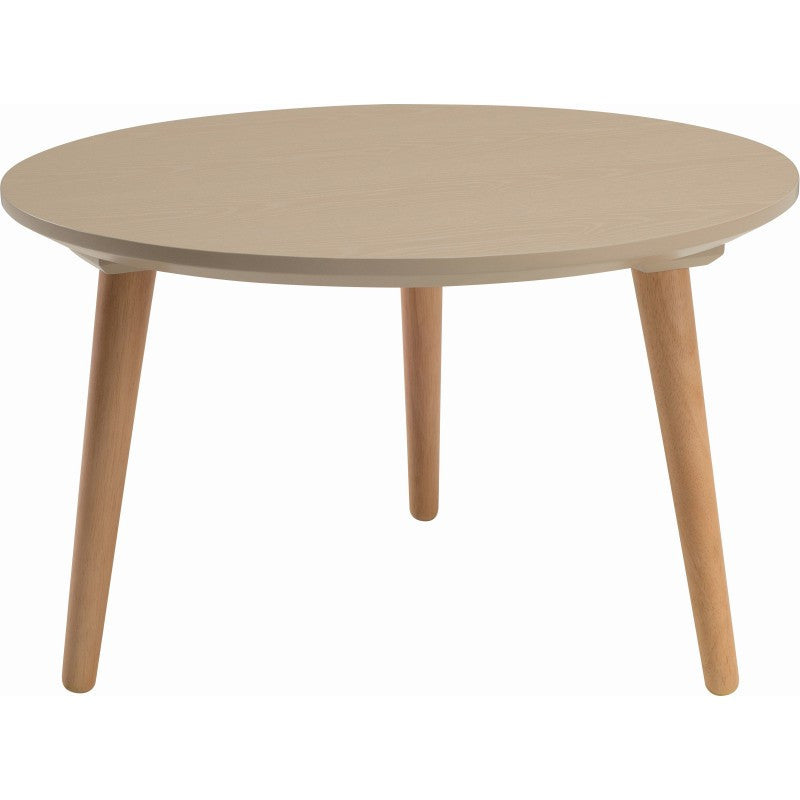 Carsyn Round Coffee Table In Taupe Grey