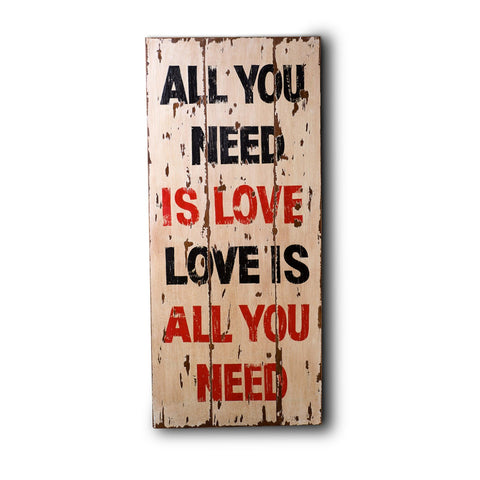 Wooden Print In Antique Cream ( Love )