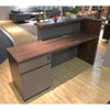 TROY 180cm Walnut & Grey Reception Desk Right Panel
