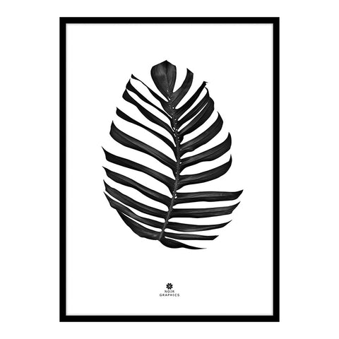 Large Jungle Leaf Print in Black Frame