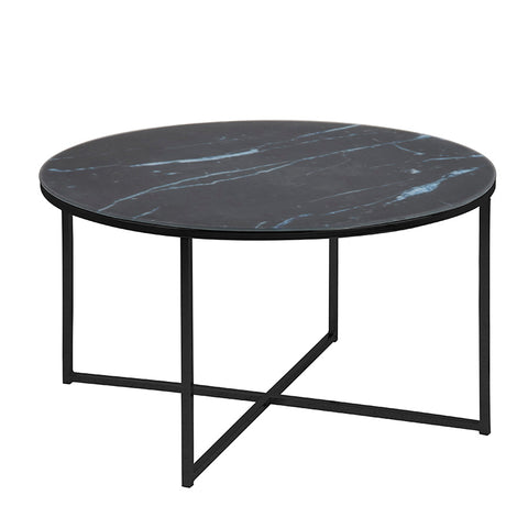 KOLINA Glass Marble Round Coffee Table 80cm - Black