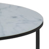 KOLINA Glass Marble Round Coffee Table 80cm - White