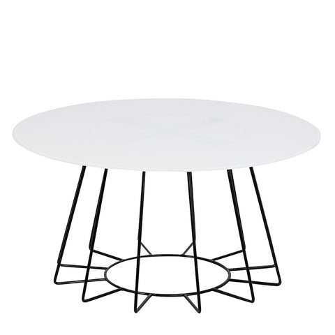 CYRUS Glass Coffee Table - 80cm - White & Black