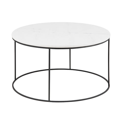 LUCIO Marble Coffee Table 80cm - White & Black