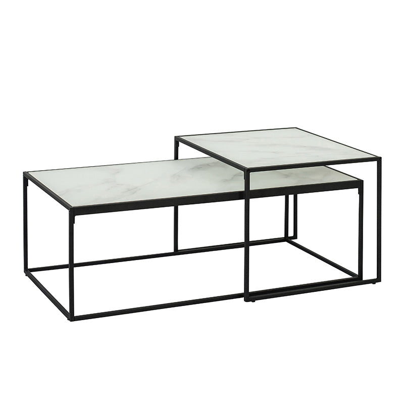 BOLTON Glass Nest of Tables 100cm - White