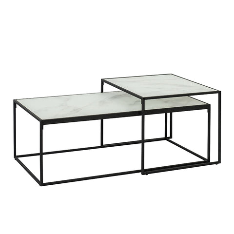 LUCIO Glass Nest of Tables 100cm - White