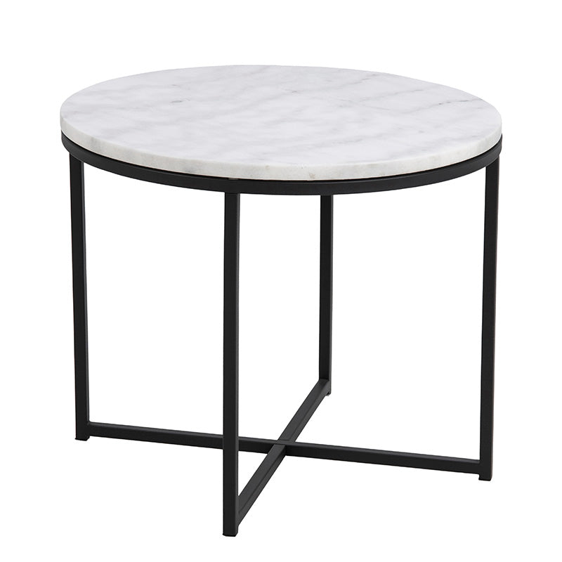 CROSS Side Table Marble 55cm - White