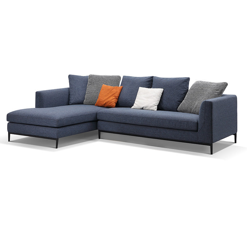 Leland 3 Seater Sofa with Left Chaise - Blue