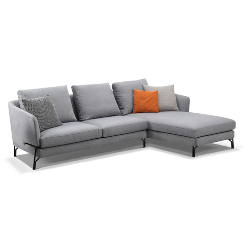 Dakota 3 Seater Sofa With Right Chaise - Light Grey