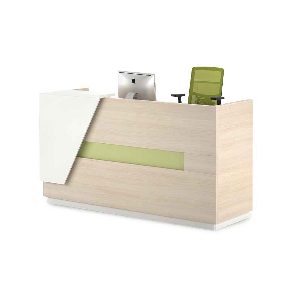 Clark Reception Desk with Right Panel - 180cm - Light Oak + White