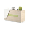 Clark Reception Desk + Cabinet - 180cm - Light Oak + White