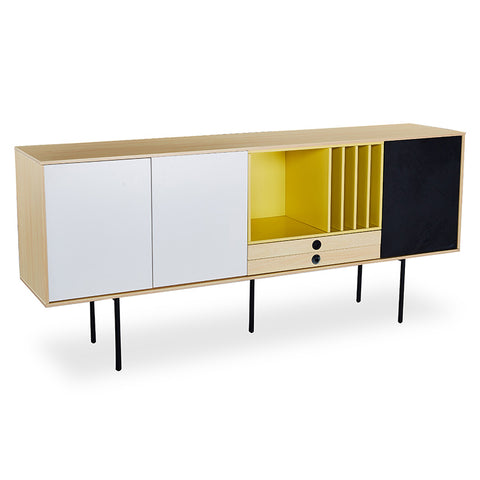 MALIKA Sideboard - 1.83m - Maple White / Yellow & Black