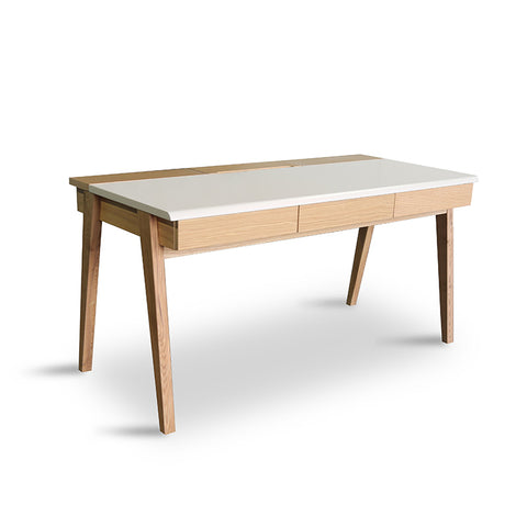 Dexter Desk - 1.5M Matt White/Natural Leg