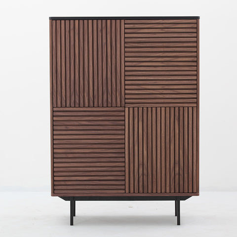 TOZZI Tall Sideboard 100cm - Walnut & Black