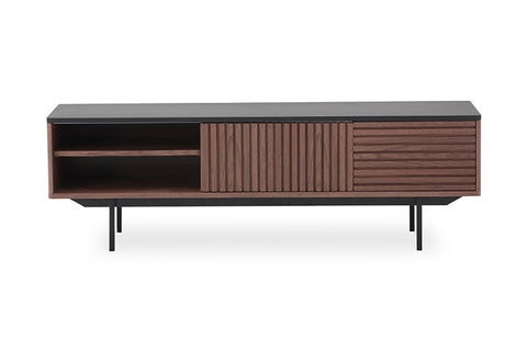 TOZZI 160cm Entertainment Unit - Walnut & Black