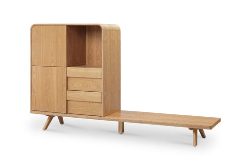Finley TV Entertainment Unit and Storage - 180cm - Ash