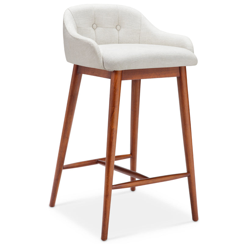 Dash Bar Stool - Walnut + Off White