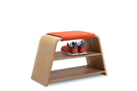 Leta Storage Bench Seat - 45cm - Ash + Orange
