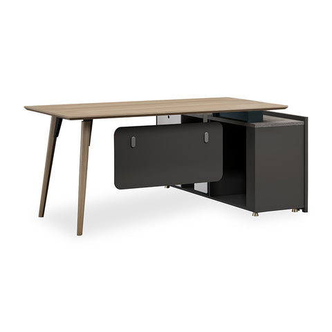 BAXTER Executive Desk Left Return 1.6-1.8M - Oak, Acacia Grey & Ivorie