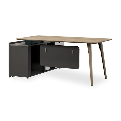BAXTER Executive Desk Right Return 1.8M - Oak, Acacia Grey & Ivorie