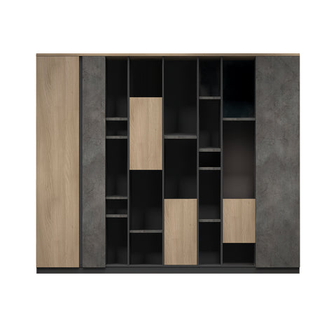 ASHTON Display Cabinet 2.3M - Acacia & Carbon Grey