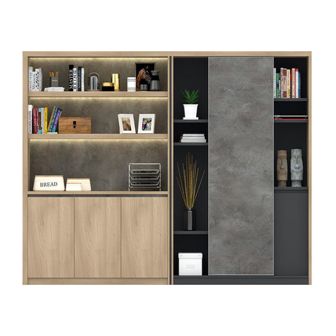 KALANI Display Cabinet 2.48M - Acacia & Carbon Grey