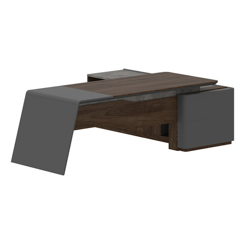 JAGGER Executive Desk Left Return 2.2M - Norica Walnut + Grey