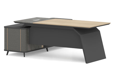 ASHTON Executive Desk Right Return 2.0M - Acacia Walnut + Grey