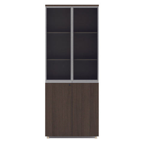 CARTER Display Unit 2 Door Bookcase 80cm -  Coffee Grey