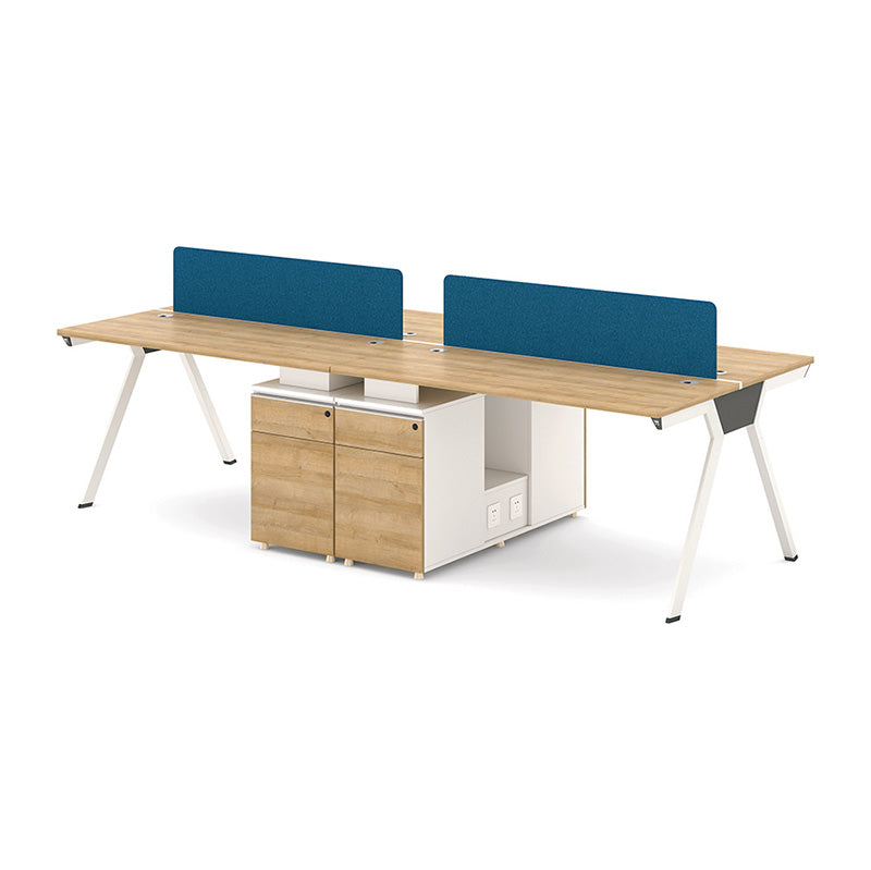 DARIAN 4 People Back to Back Workstation 2.4M - Natural & White