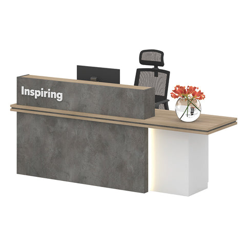JARIN  Reception Desk 2.4M Right Panel - Carbon Grey & White