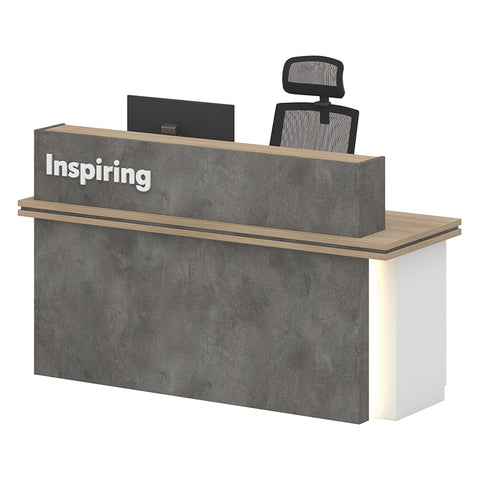 JARIN  Reception Desk 1.8M Right Panel - Carbon Grey & White
