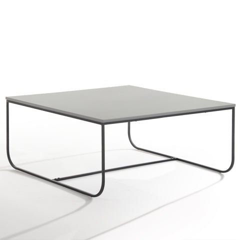 Marit Square Coffee Table - Light Grey + Black Metal