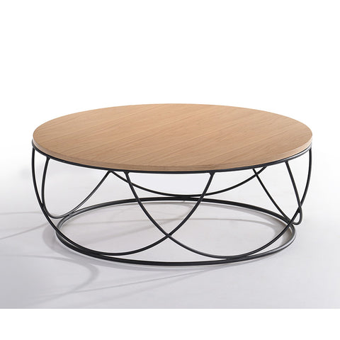 ANYA Coffee Table Round - Natural & Black
