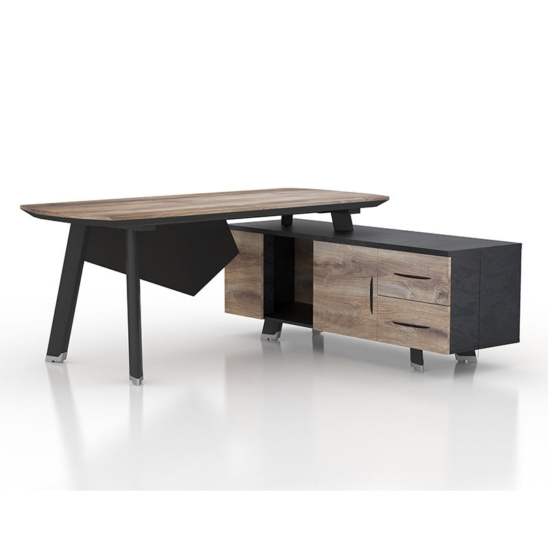ARTO Executive Desk with Right Return 1.8M - Mahogany Black