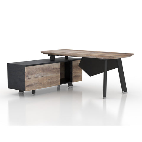 ARTO Executive Desk with Left Return 1.8M - Mahogany Black
