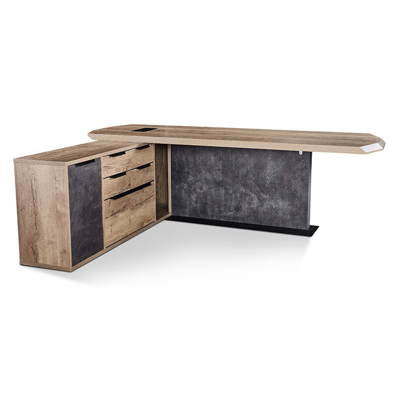 MAGNUS Executive Desk with Left Return 2.4M - Tobacco Wood Colour