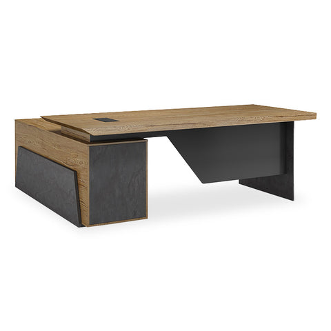 HAMLIN Executive Desk with Right Return 2.2M - Tobacco Wood Colour