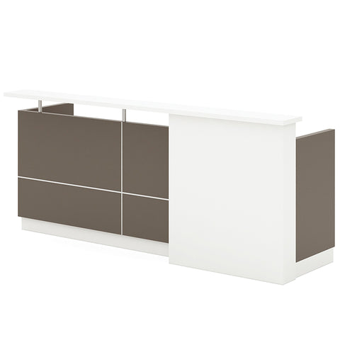 Sawyer Reception Desk - 240cm - Grey + Flat White