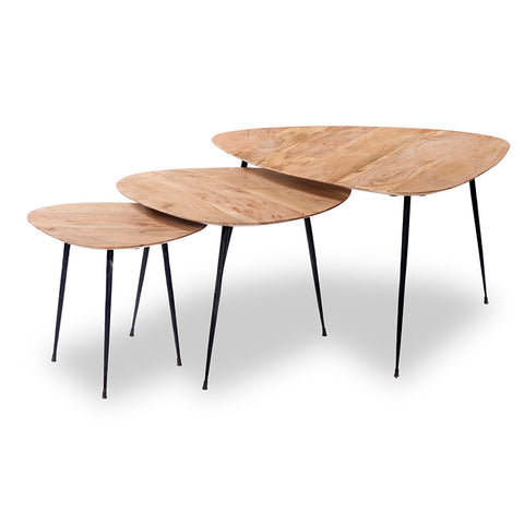LOWRI Nest of 3 Tables Solid Mango Wood