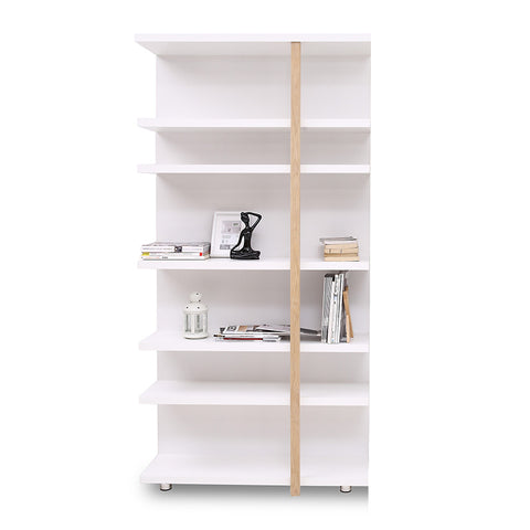 Tansy Display Unit BookShelf  100cm - Matt White+Natural
