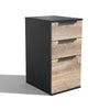 TRIBECA 3 Drawer Filing Cabinet - Mahogany/Black