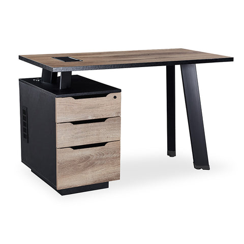 ARTO Single Workstation with Left Cabinet 1.2M - Mahogany Black