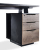 ARTO 2 Person Workstation with 2 Cabinets 2.4M - Mahogany Black