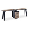 ARTO 2 Person Workstation with 1 Cabinet 2.4M - Mahogany Black