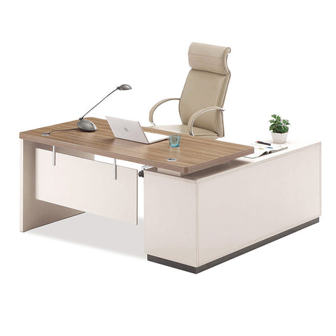 Wilder Executive Office Desk + Left Return - 180cm - Walnut + White