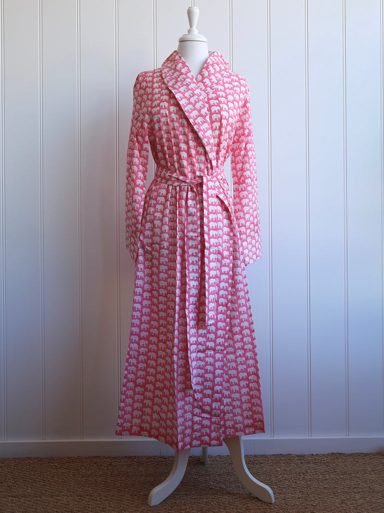 Dressing Gown - Elephants Pink