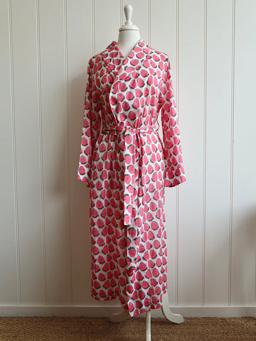 Dressing Gown - Strawberries Pink